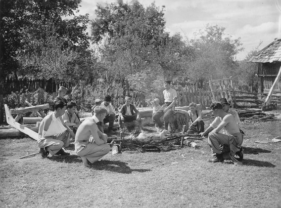 Fresh meat and vegetables were purchased from the natives. Some of the American airmen interested in the roasting of the sheep. 14. Sept '44.
