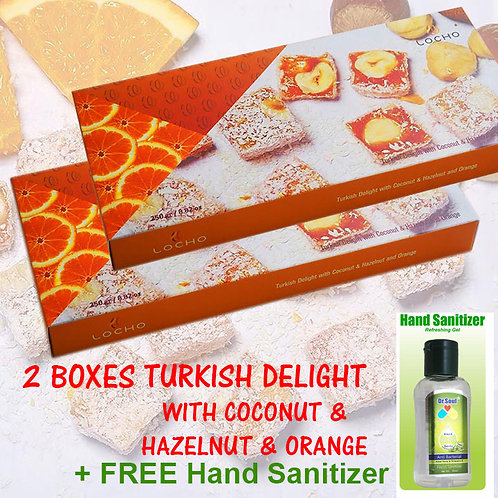 Turkish Delights Coconut, Hazelnut & Orange (2bxs + FREE Dr Soul Hand Sanitizer)