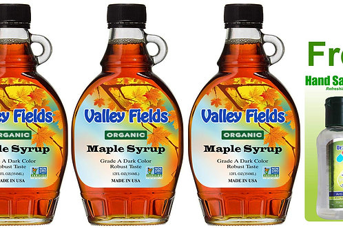 Valley Fields Organic Maple Syrup Robust Taste (12oz) 3bot + FREE Hand Sanitizer