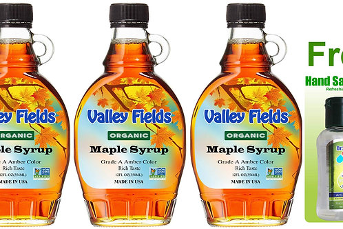 Valley Fields Organic Maple Syrup Amber Taste (12oz) 3bot+ FREE Hand Sanitizer