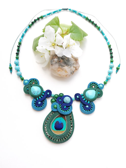 Collier Paon #1 Turquoise