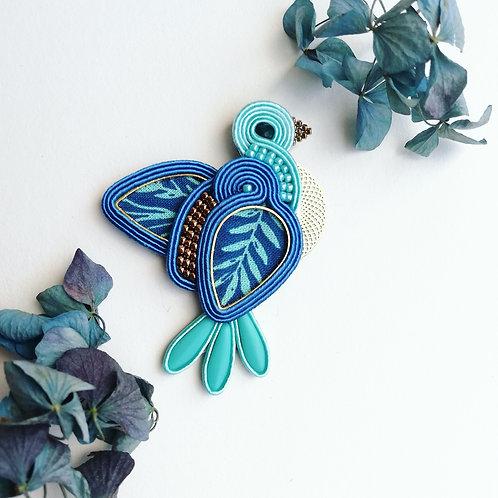Broche textile, l'oiseau bleu #3