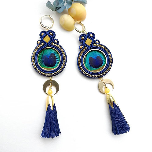 B.O. Paon à pompons, Bleu et jaune