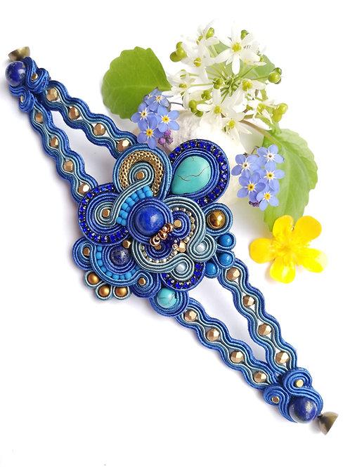 Bracelet Haute Fantaisie. Fleur bleu.
