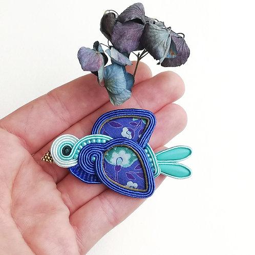 Broche textile, l'oiseau bleu #2