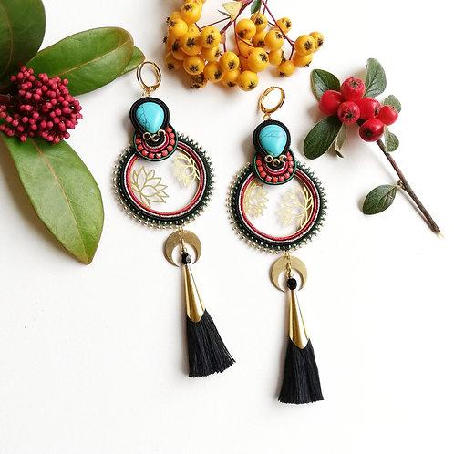 B.O. créôles Lotus, turquoise et pompon
