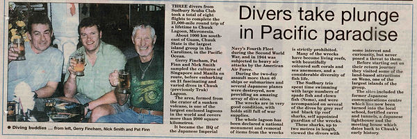 Truk Lagoon article, 2004 (Pat is on the right)