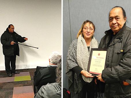 Tāmati Cairns acknowledged by Māori Wardens