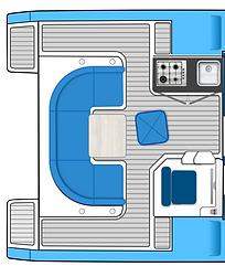 Open plan yacht cockpit