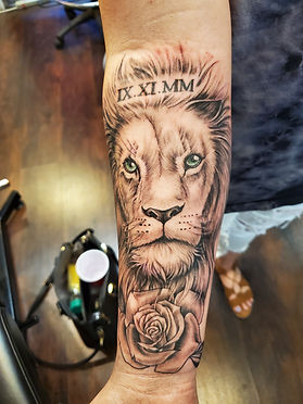 Realistic Lion tattoo by Judy