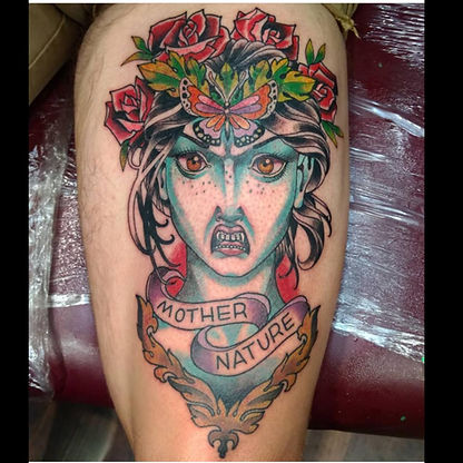 mother nature tattoo by Kip