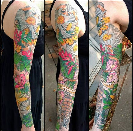 flower sleeve tattoo by Kip