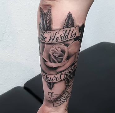 rose and lettering by John