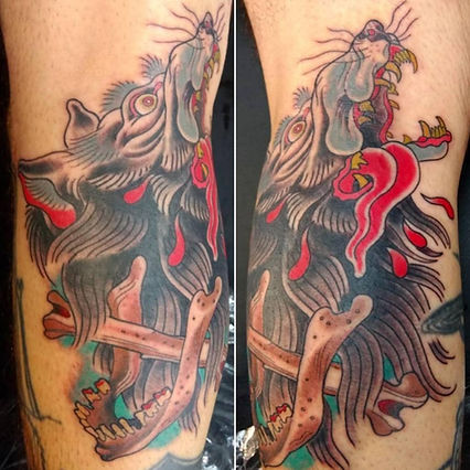 wolf tattoo by Kip