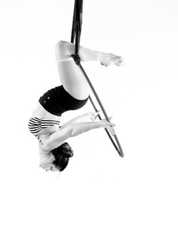 Lyra / Aerial Hoop Portrait by Sari Blum B&W