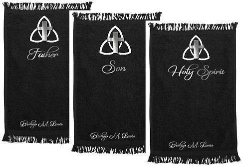 Trinity Towel Set-Ministry/Prayer Towels (Metallic Silver Lettering)