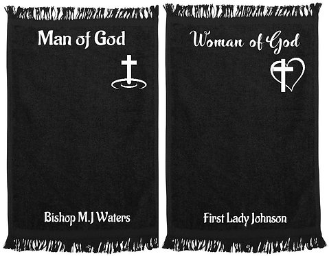 (Set of 2 )Man and Woman of God Ministry/Prayer Towels (White Lettering