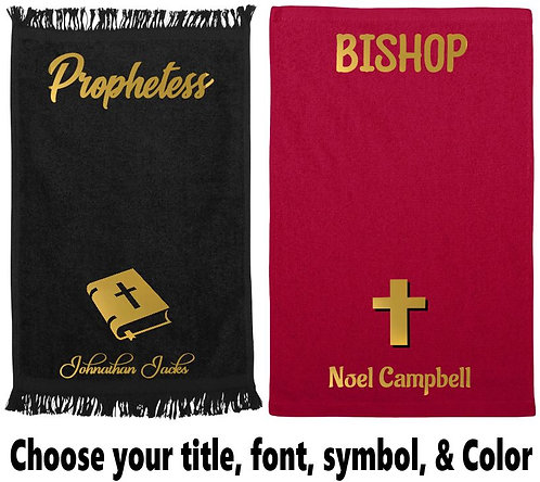 Personalized Ministry /Prayer Towels (Metallic Gold Lettering)