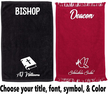 Personalized Ministry/Prayer Towels (White Lettering)
