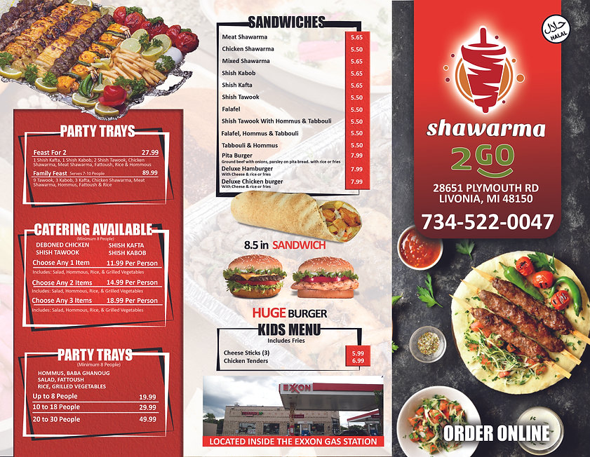 Beautiful Flyer and Menu Sandwiches