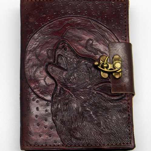 Wolf Leather Covered Journal