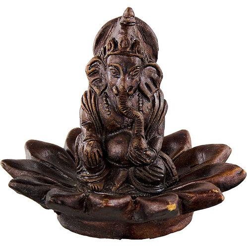 Ganesh on Lotus - Handmade Clay Incense Holder