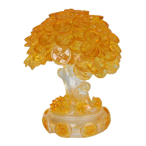 Feng Shui Translucent Golden Money Coin Prosperity Tree