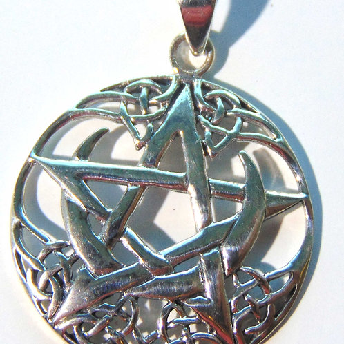 Pentagram with a Crescent Moon and Celtic knots