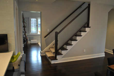 Contrasting Hardwood Stairs