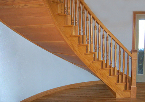 Curved Hardwood Staircase