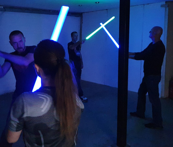 Star wars lightsabre stunts