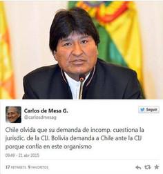 Evo asegura a Chile que acatará fallo de la Corte de La Haya.