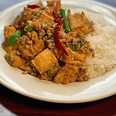 Bai/ Cha Sach Jrouk and Tofu (Rice with Pork and Tofu)