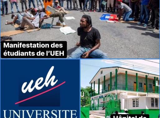AGITATION : DES MANIFESTANTS ONT SEMÉ LA PAGAILLE À L'HÔPITAL DE L'UNIVERSITÉ D'ÉTAT D'HAÏTI (HUEH)