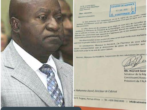 POLITIQUE: REYNOLD GEORGES DÉMISSIONNE DU CABINET DE JOVENEL MOISE