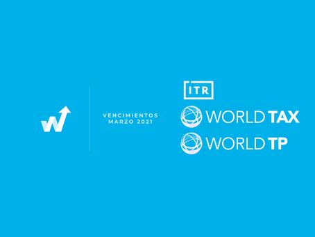Vencimientos  ITR - World Tax - Marzo
