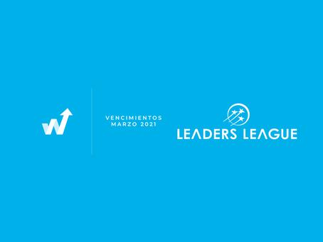 Vencimientos Leaders League  - Marzo.