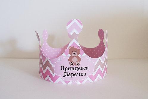 "Корона ""Мишка с розовым"""
