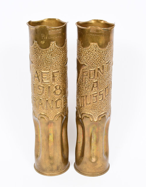 WWI AEF 328th Field Artillery shell trench art with dedication