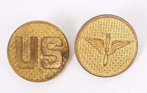 US Army Air Force type II EM / NCO Gilt collar disc insignia