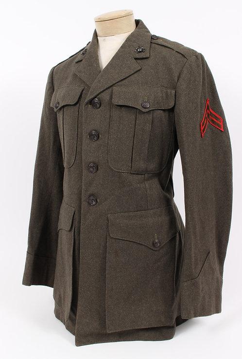 WWII USMC Marine Corps named service dress green tunic