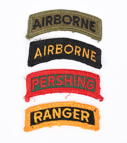 Korea - Vietnam US Army Airborne / Ranger / Pershing shoulder tab patch lot of 4