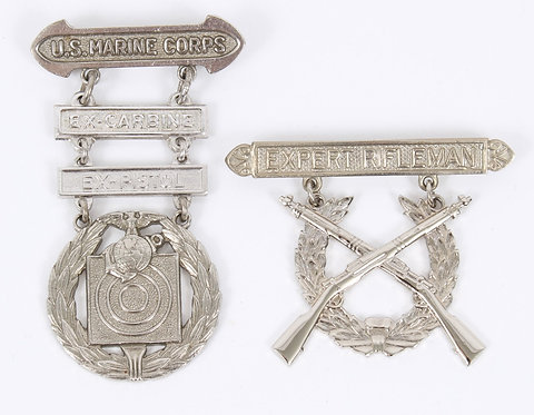 WWII USMC Marine Corps qualification badge lot of 2