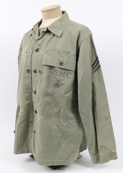 WWII USMC NCO named P44 HBT combat shirt