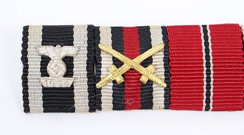 WWII German Army ribbon bar w/ 2nd Class clasps to Iron Cross