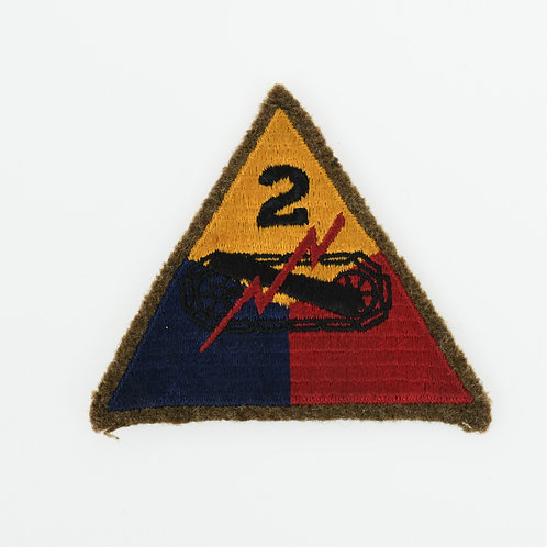 WWII 2nd Armored Division shoulder patch cotton on wool