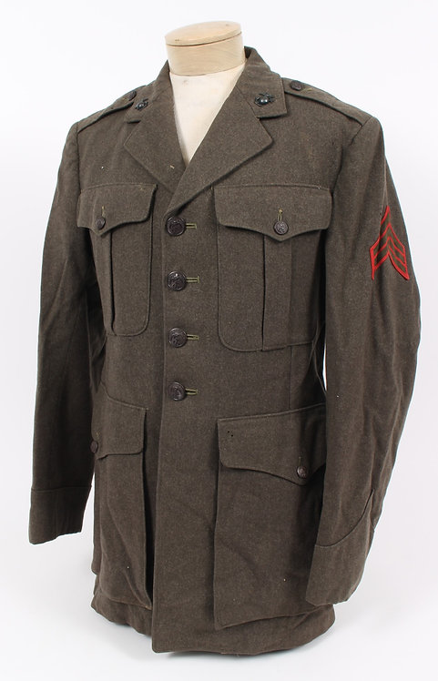 WWII USMC Marine Corps named NCO service dress green tunic