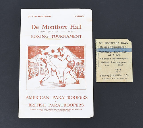 July 1944 Montford Hall US Paratrropers vs British Paratroopers Boxing program