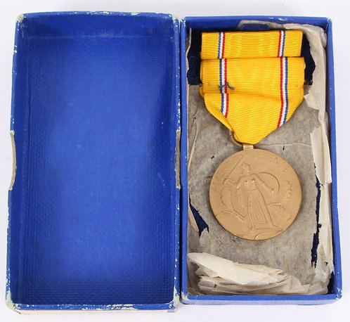WWII US Armed Forces American Defense Service medal set dated 1945