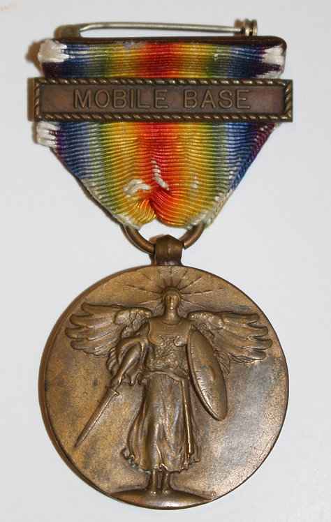 WWI USN Navy Victory Medal with Mobile base clasps